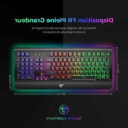 Clavier Gamer Filaire Ultra Mince, Gaming Keyboard Tout Mét